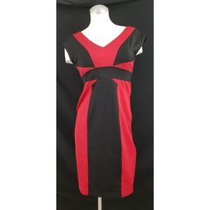 Maggy London 4 Red Black Midi Dress Colorblock